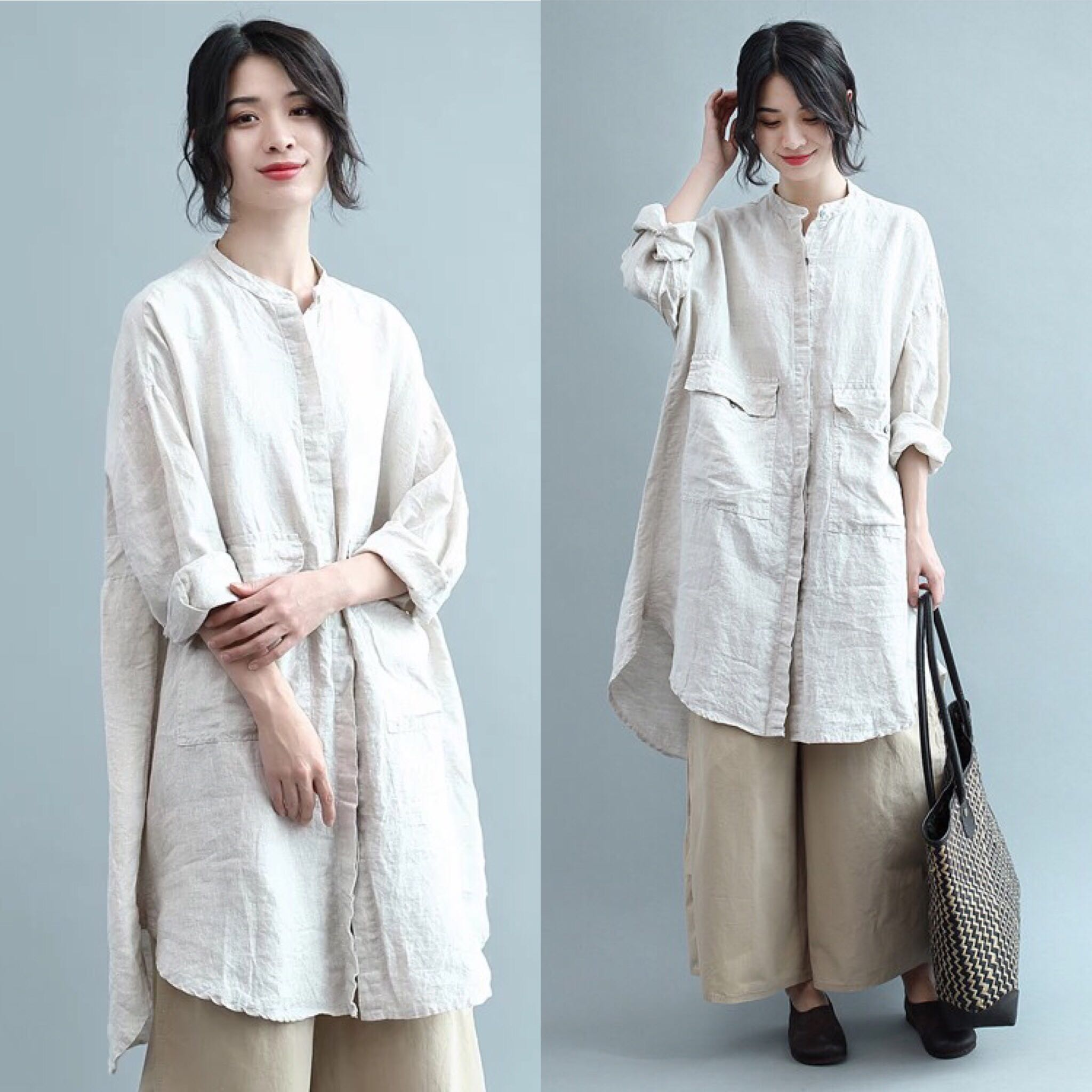 ed3a30989fd4f Plus Size Tops literary simple solid color lapel cotton and linen ...