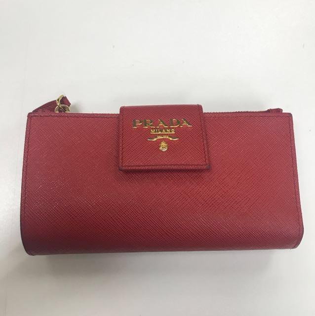 d0b0443df48f PRADA Saffiano Metal Medium Flap Wallet