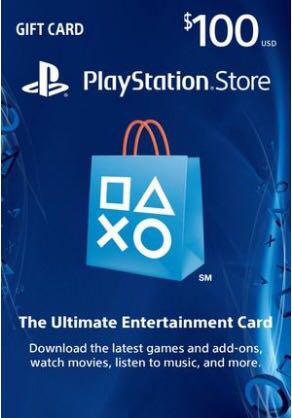 PSN gift cards US 100 usd