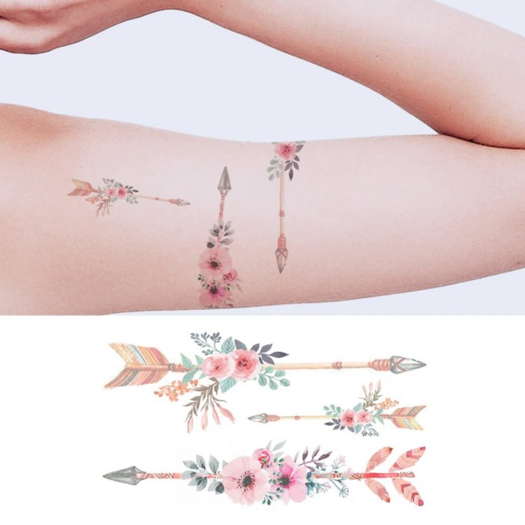 5c3ca634a Temporary Tattoo - Arrows of Floral, Women's Fashion, Accessories ...