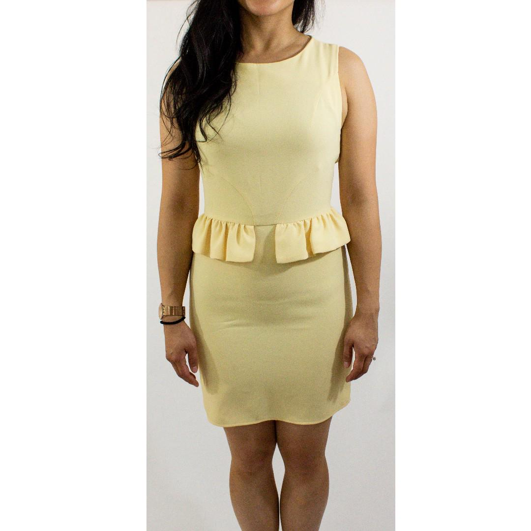 TopShop Pastel Yellow Vintage Frill Dress