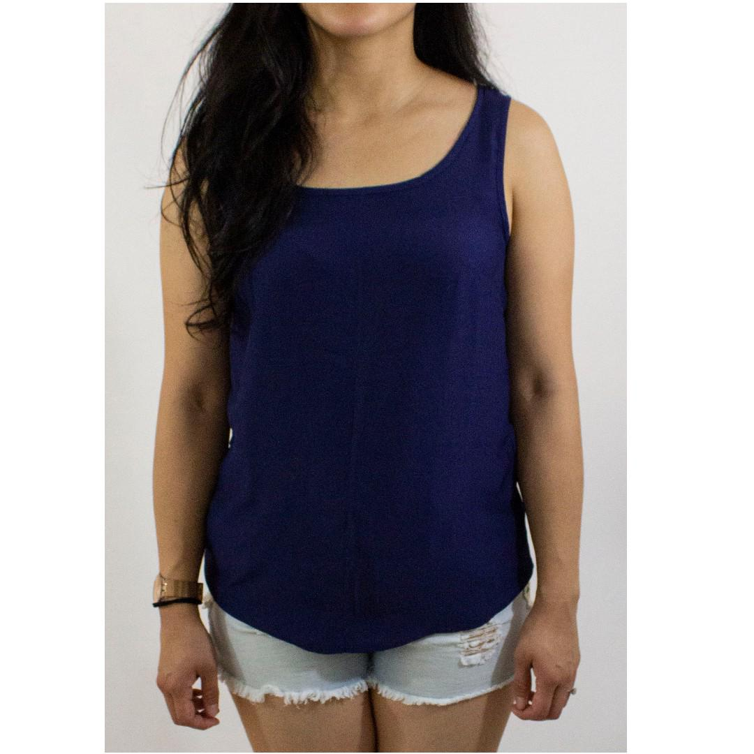 United Colors of Benetton two options: (1)Baby Blue and (1)Dark Blue Sleeveless Blouse