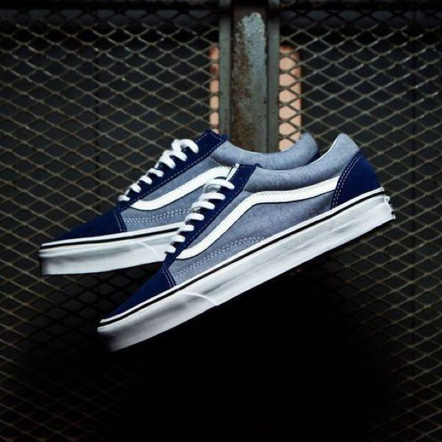 ec84ec775d VANS Old Skool Classic -(Suede   Chambray) Estate Blue