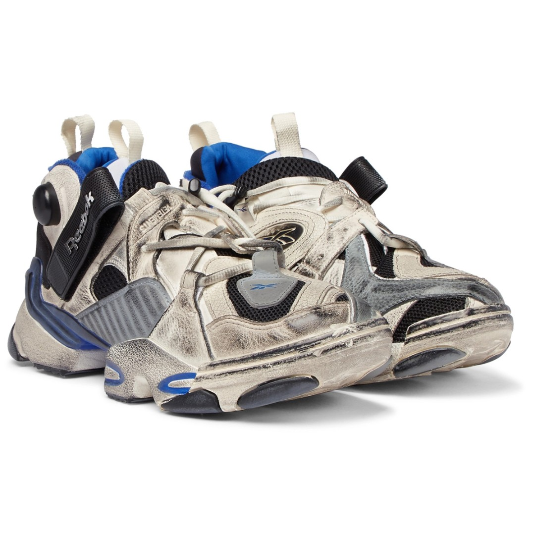 Vetements X Reebok Genetically Modified Pump Sneakers - Blue White ... 168babc80