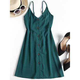 Button Up Cami Mini Dress for Women