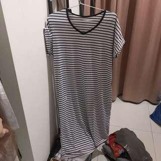 Long Dress Stripes (Garis Garis) bahan Kaos