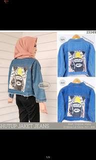 Jaket jeans (light)  oversize crop SHUTUP import