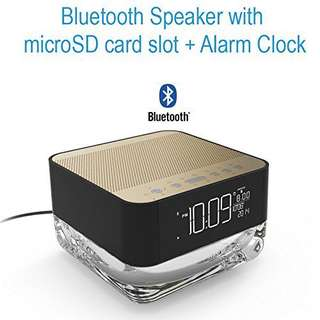 Pumpkin Soul-Portable Bluetooth Speaker For Apple, Android And Other Devices With Mp3 Player And Microphone Alarm Clock, Microsd Card Slot, Night Lamp, Hands Free Phone, Twilight Colors Gold