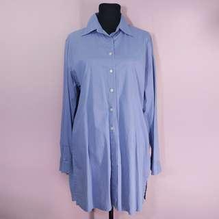 Blue butto down polo dress