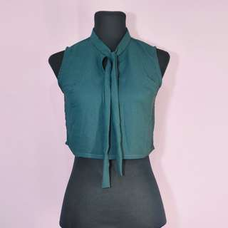 Green georgette cropped top