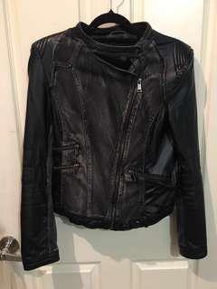 Faux leather/denim jacket