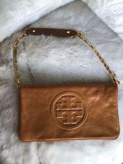 Tory Burch clutch bag tan leather