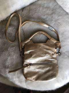 Foley and Corinna Gold leather crossbody bag purse