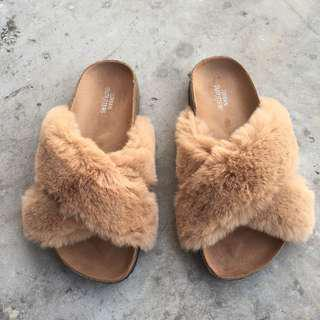 Urban outfitters | Crossed Faux Fur Slide