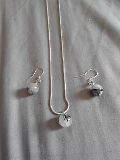 925 sterling silver necklace and earring set