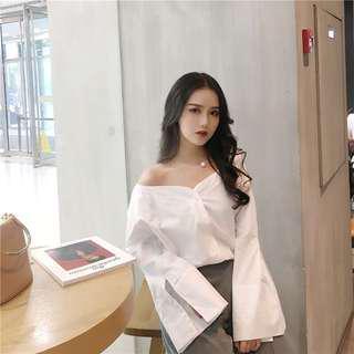 Korean Style White Off Shoulder Top