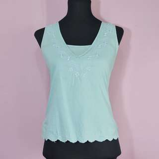 Embroidered teal blouse