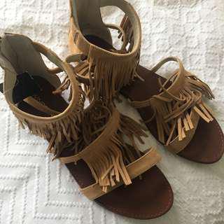 Windsor Smith Tan Tassel Sandals