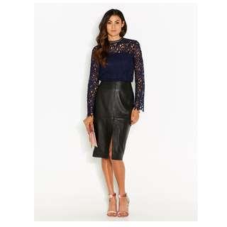 Portmans Leather Midi Skirt. RRP$89.95