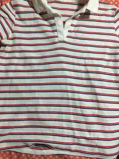 Retro Style Striped Collared Shirt
