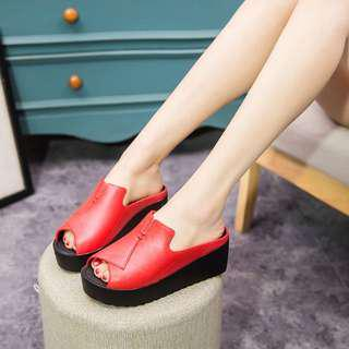 🔥READY STOCK🔥Renna PVC Wedges🌸
