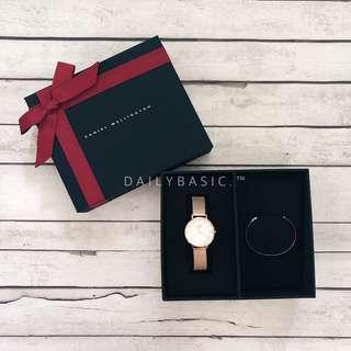 Daniel Wellington Classic Petite Melrose white + Cuff Set