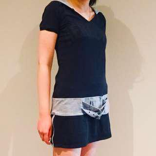 Black and light grey casual graphic dress