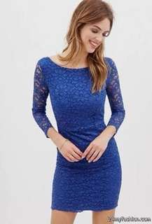 Forever 21 blue lace dress S