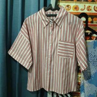 Baju crop yop stripe pink putih cewe