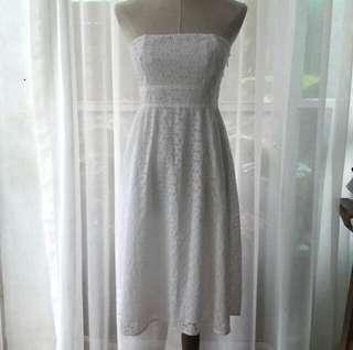 REPRICED White midi tube dress