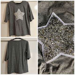 Korean top with half sleeves Almost new Large