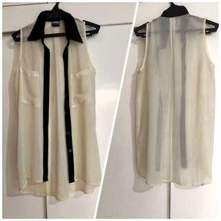 Black & white sleeveless top medium