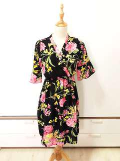 Black Kimono Bell Sleeve Dress
