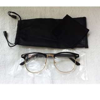 35fdacfc7a Glossy Black vintage Eyewear Spectacle Clubmaster Frame Glasses Clear lens  with Gold Rims
