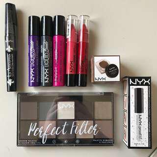 NYX BUNDLE- palette, lipsticks & more!!
