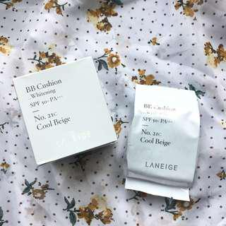 包郵✨Laneige Whiteing BB Cushion 21C Cool Beige Refill 氣墊粉餅 粉底 補充裝