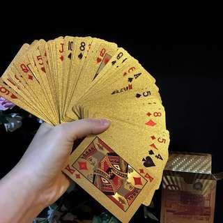Shiny gold Poker Cards