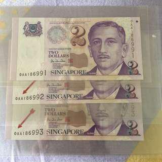 $2 Portrait series 0AA 3Runs