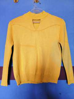 high neck knitted long sleeve top(mustard yellow)