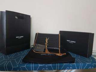 YSL Croco Tassel Chain Bag