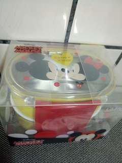 韓國 迪士尼米奇米妮 雙層不銹鋼便當盒