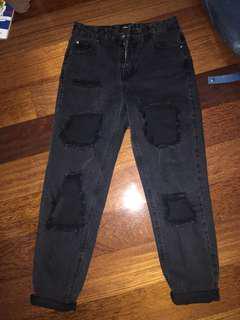 Distressed Black Mom Jeans