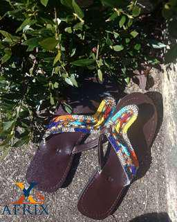 African Sandals Rainbow and Leather