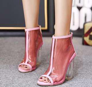 🚚 粉色 透明 粗跟鞋