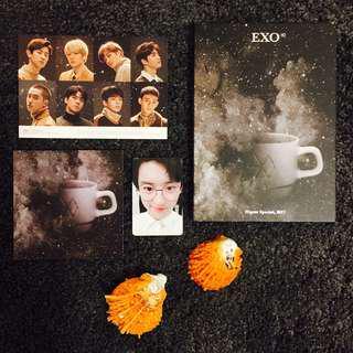 EXO Universe Korean Version Album Chanyeol Photocard and Pre-order Postcard