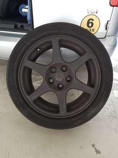 Evo 8 original enkei rim with tyre