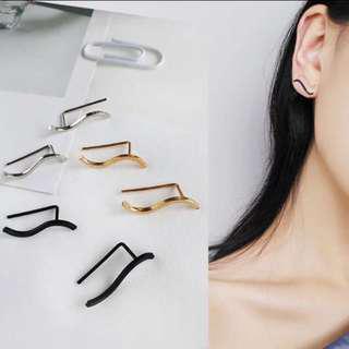 🚚 韓國簡約流線型耳環-黑色