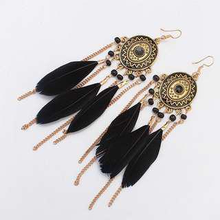 """Caitriona"" Boho feather earrings"