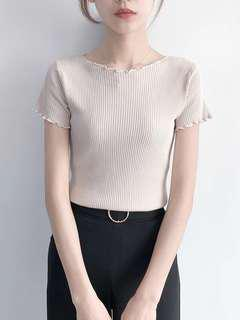 Knitted Top beige crop top stretchable fashion stylish simple basic shirt #mcsfashion