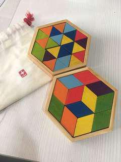 🚚 竹製幾何圖形拼圖 教具